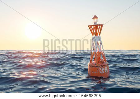 Buoy in the open sea on the sunset background. 3d render