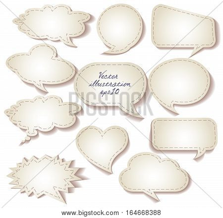 Speech bubbles cut from paper. Set. Isolated on white background. Vector illustration eps 10