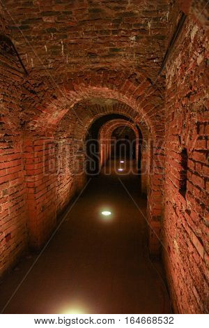 Inside the walls of Petro Paul Fortress in the winter. Visit musketeer chambers of the Peter-Paul Fortress in the framework of the cultural forum in St. Petersburg.