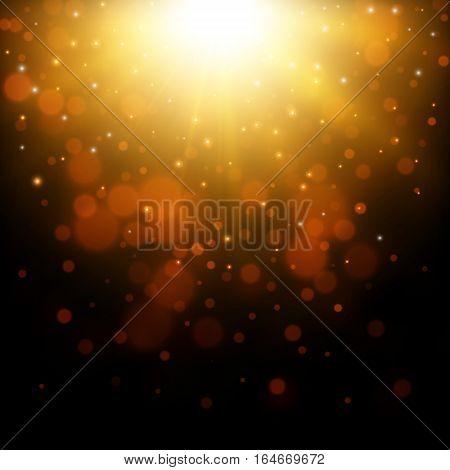 Gold glitter light background, Abstract vector illustration