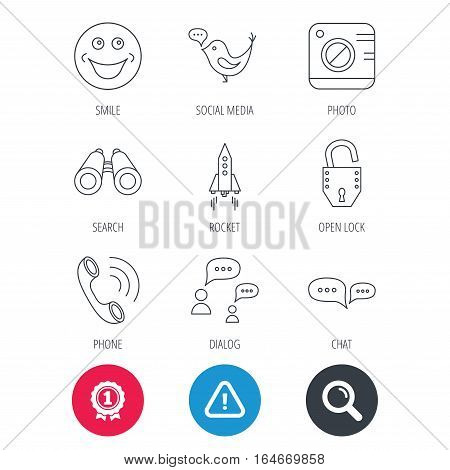 Achievement and search magnifier signs. Phone call, chat speech bubble and photo camera icons. Social media, smile and rocket linear signs. Hazard attention icon. Vector
