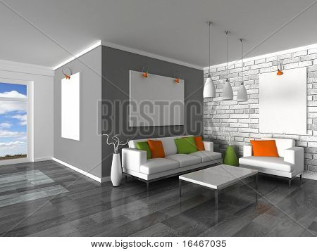 interior of the modern room, grey wall and white sofas