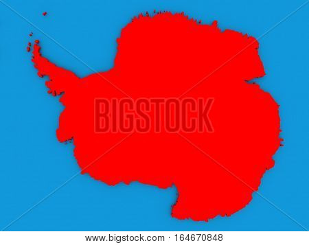 Antarctica In Red On Globe