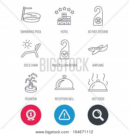 Achievement and search magnifier signs. Hotel, swimming pool and beach deck chair icons. Reception bell, restaurant food and airplane linear signs. Do not disturb and clean room flat line icons