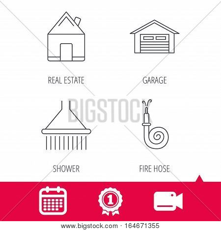 Achievement and video cam signs. Real estate, garage and shower icons. Fire hose linear sign. Calendar icon. Vector