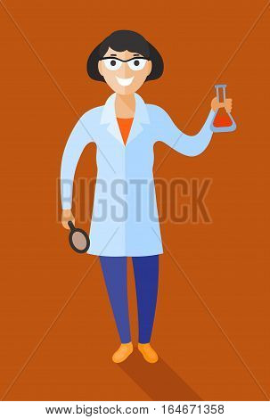 Scientist at work illustration. Vector in flat style design. Scientific icon Smiling female character in white gown standing with beaker in her hand.