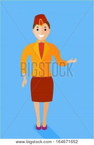 Stewardess figure illustration. Vector in flat style design. Stewardess dressed in shape