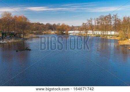 Tranquil landscape on a Vorskla river at fall morning in Ukraine