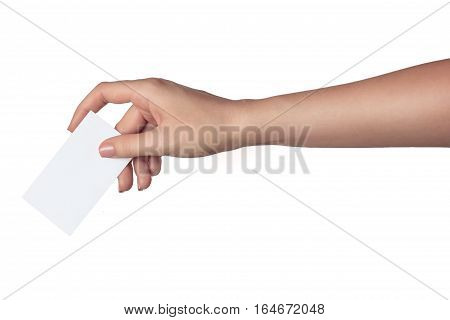 Woman hand holding a blank business card isolated on white background