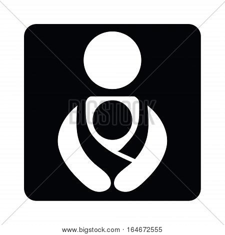 Vector Vector Babywearing Symbol With Parent, Mother or Father Carrying Baby In a Sling. Black and White Icon Style. Attachment parenting concept.