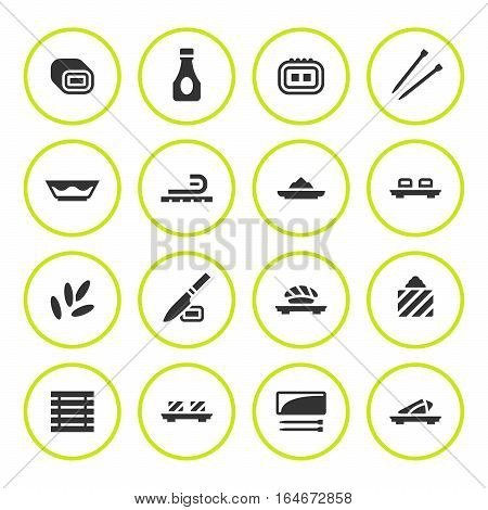 Set round icons of sushi isolated on white. Vector illustration