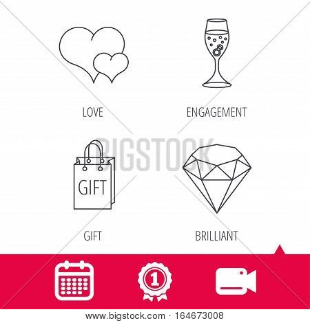Achievement and video cam signs. Love heart, gift box and wedding ring icons. Brilliant and engagement linear signs. Calendar icon. Vector
