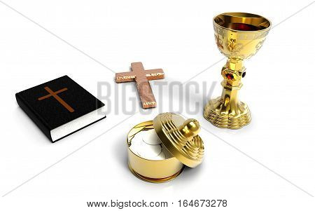 Holy communion a golden chalice with grapes and holy bible on white background 3D rendering