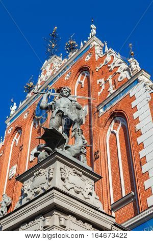 Sculpture Of St George On Facade Of House Of Blackheads Ontown Hall Square In Riga, Latvia.