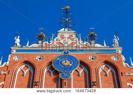 Latvian Attraction - House Of The Blackheads With Astronomical Clock.