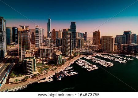 Amazing Colorful Dubai Marina Skyline With Water Canal And Expensive Yachts During Sunny Day, Dubai,