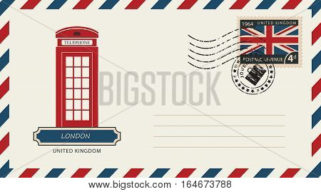 an envelope with a postage stamp with London phone booth and the flag of United Kingdom