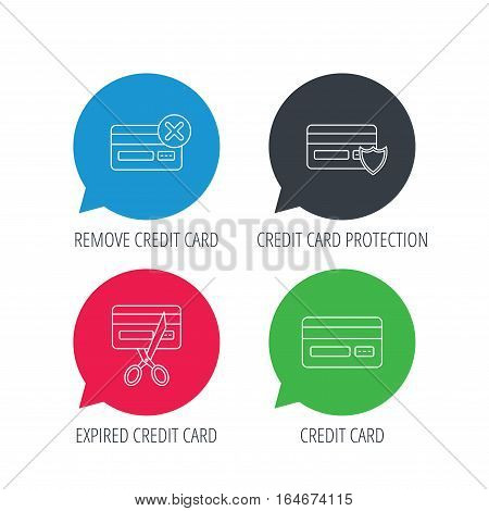 Colored speech bubbles. Bank credit card icons. Banking, protection and expired debit card linear signs. Flat web buttons with linear icons. Vector