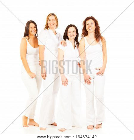 4 ladies aged between approx. 20 and approx. 40 on white background
