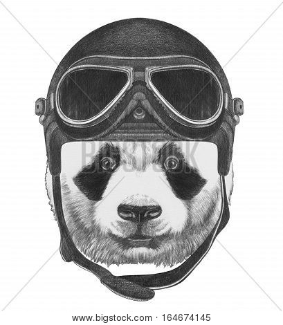 Portrait of Panda with Vintage Helmet. Hand drawn illustration.