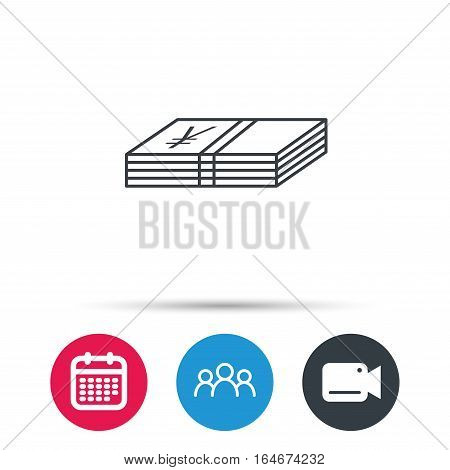 Cash icon. Yen money sign. JPY currency symbol. Group of people, video cam and calendar icons. Vector