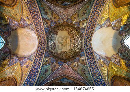 Isfahan Iran - October 20 2016: Ceiling of Chehel Sotoun pavilion in Isfahan city Iran
