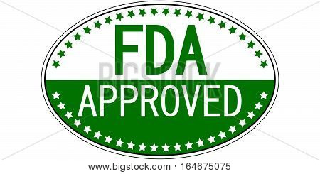FDA approved sticker, Food and Drug Administration approved vector green oval sticker