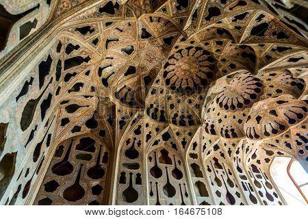 Isfahan Iran - October 20 2016: Music Hall in Ali Qapu palace in Isfahan city Iran