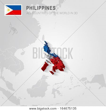 Philippines painted with flag drawn on a gray map.