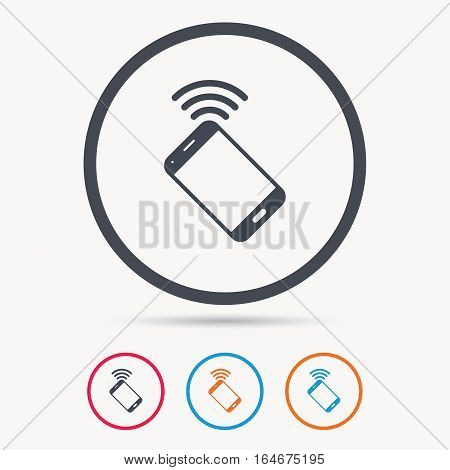 Cellphone icon. Mobile phone communication symbol. Colored circle buttons with flat web icon. Vector