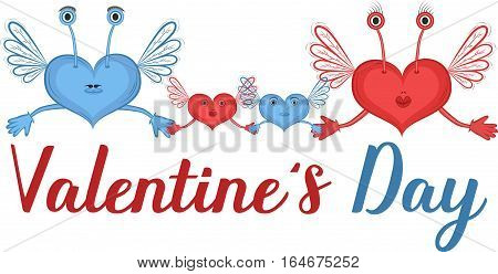 Happy Valentines Day greeting card with hearts vector illustration. Red and blue hearts characters with wings isolated on white background. Romantic celebration template