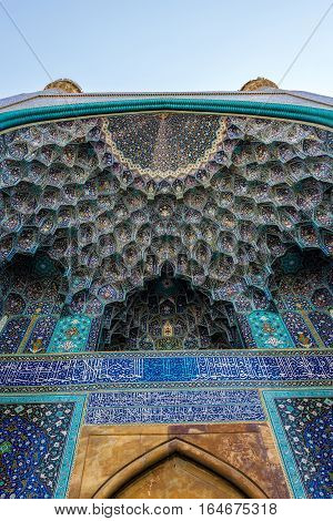 Isfahan Iran - October 20 2016: Main entrance to Shah Mosque also called Imam mosque in Isfahan city Iran