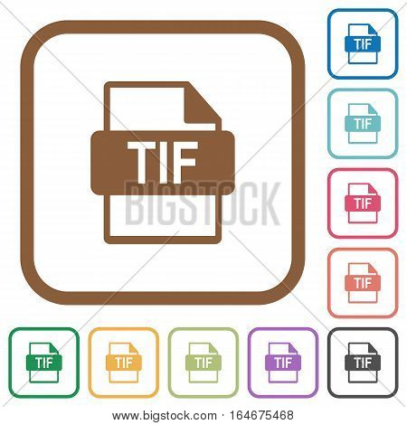 TIF file format simple icons in color rounded square frames on white background