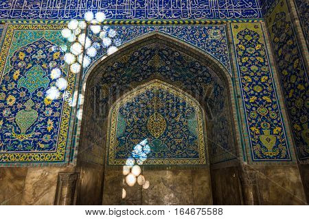 Isfahan Iran - October 20 2016: Interior of Shah Mosque also called Imam mosque in Isfahan city Iran