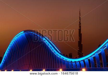 Amazing Night Dubai Vip Bridge With Beautiful Sunset. Private Ro