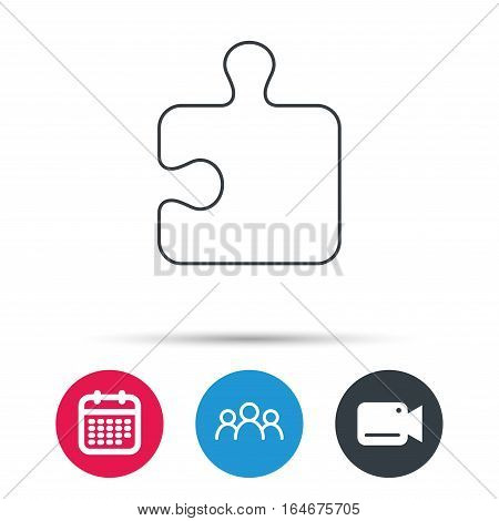 Puzzle icon. Jigsaw logical game sign. Boardgame piece symbol. Group of people, video cam and calendar icons. Vector