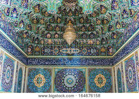 Shiraz Iran - October 23 2016: Details of Shah Cheragh Mosque and mausoleum in Shiraz city in Iran