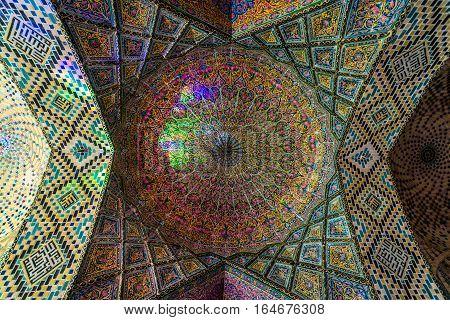 Shiraz Iran - October 23 2016: Ceiling of Nasir ol Molk Mosque (Pink Mosque) in Shiraz city in Iran