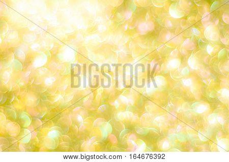 Natural Bokeh From Golden Glitter Defocused Lights