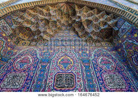 Shiraz Iran - October 23 2016: Details of Nasir ol Molk Mosque (Pink Mosque) in Shiraz city in Iran