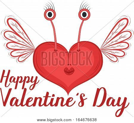Happy Valentines Day greeting card with heart vector illustration. Red heart character with wings isolated on white background. Romantic celebration template
