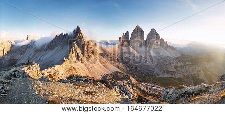 Panoramic view of Monte Paterno / Paternkofel and the Tre Cime di Lavaredo / Drei Zinnen, Dolomites, Italy