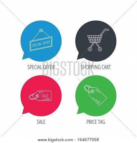 Colored speech bubbles. Shopping cart, price tag and sale coupon icons. Special offer label linear sign. Flat web buttons with linear icons. Vector