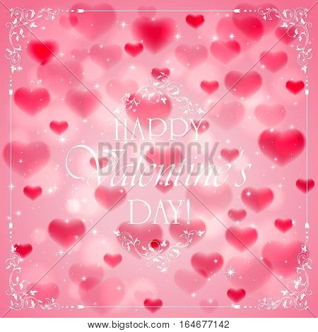 Pink Valentines background with hearts and ornate elements, white lettering Happy Valentines Day, illustration.