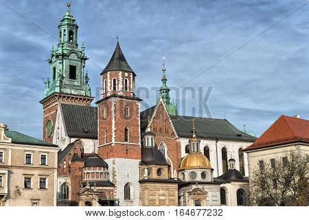 Wawel - Royal castle over the Vistula River in Krakow . Poland