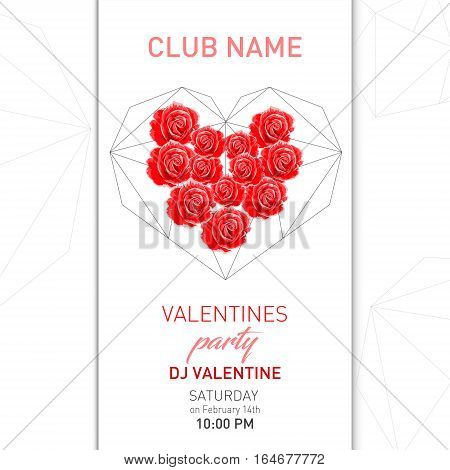 Vector Valentines Day night party flayer.Poster Design Template.