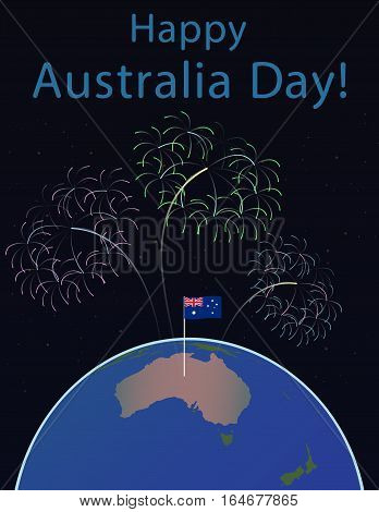 Background of Australia Day , National Celebration Card, Vector, Australia on a globe of the planet Earth, flag and salute