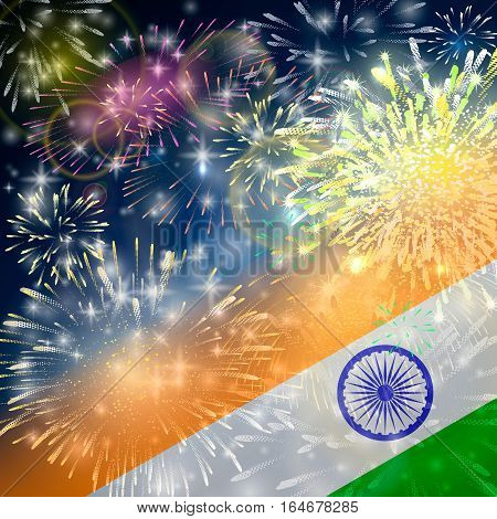 India background in tricolor and Ashoka Chakra with festive fireworks bursts. Concept of Indian Republic Day celebrations or Independence day. Flag over bright explosions and blast in the night.