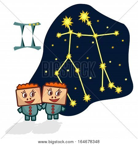 Cartoon Zodiac signs. Vector illustration of the Gemini with a rectangular faces. A schematic arrangement of stars in the constellation Gemini