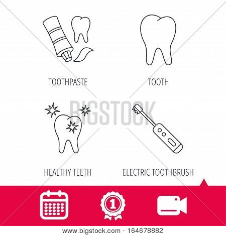 Achievement and video cam signs. Healthy teeth, tooth and toothpaste icons. Electric toothbrush linear sign. Calendar icon. Vector